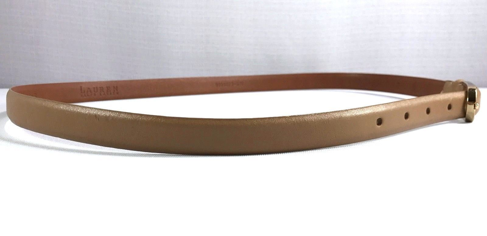 Ralph Lauren Genuine Italian Tan Skinny Leather Belt Women's Size XL