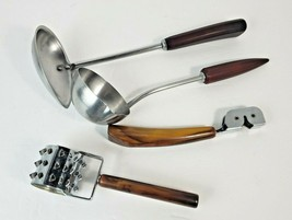 Lot 4 Vintage Butterscotch Brown Swirl Bakelite Handle Tenderizer Corona... - $46.27