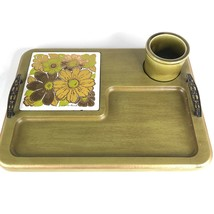 Georges Briard Serving Tray Flower Trivet Green Wood Dish Bowl Cheese Bo... - $39.55