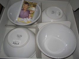 4 Mikasa TYLER FLORENCE CHEF'S WHITE Rustic White Cereal Bowls NEW  RARE - $70.40