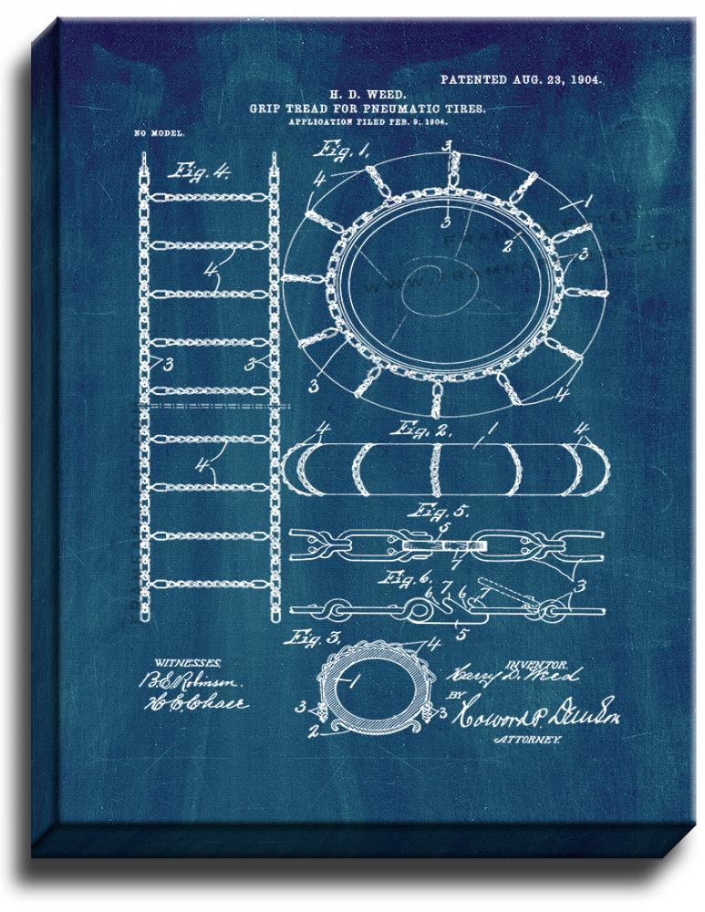 Primary image for Grip-tread for Pneumatic Tires Patent Print Midnight Blue on Canvas