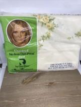 VTG 70s Dan River Double Flat Sheet Yellow Rose Dantrel USA NEW NIP Torn Plastic - $19.79