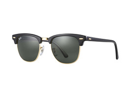 Ray Ban Sunglasses Clubmaster RB3016 W0365 Black/Gold w/Green G-15 49mm - $102.85