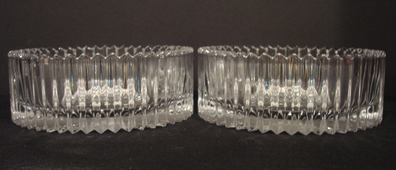 2 (Two) Mikasa Diamond Fire Indiv. 8 Inch Round Crystal Bowls - $29.99