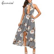 Backless Floral Pattern  Deep V-neck Maxi Dress - $17.99
