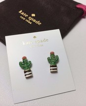 KATE SPADE 14K Gold Plated Scenic Route Green Pavé Cactus Stud Earrings New - $29.99