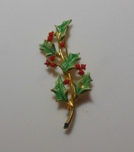 Vintage MYLU Signed Enamel Holly Berry Branch Brooch - $15.99