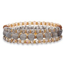 "3-Piece Grey and Brown Crystal Gold Tone Beaded Stretch Bracelet Set 8"" - $19.49"