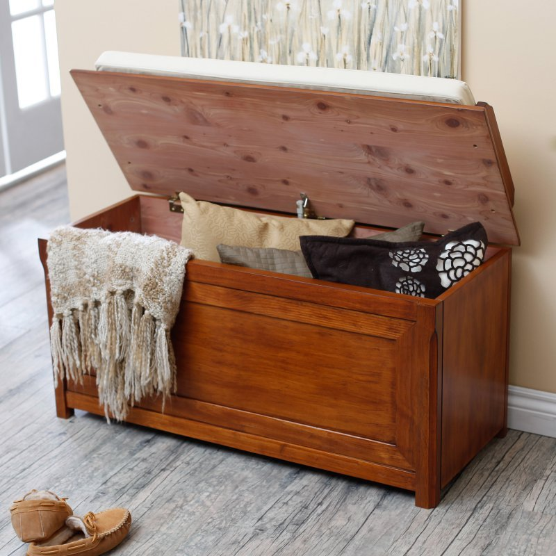cedar storage bench home wood entryway living room bedroom hallway storage chest coat hat racks. Black Bedroom Furniture Sets. Home Design Ideas