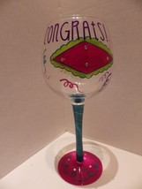 "Cheers Darling Hand Painted Wine Glass ""Congrat... - $17.42"