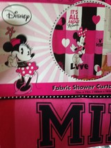 """Disney Minnie Mouse Pink White Black Fabric Shower Curtain """"All About Mi... - $22.05"""