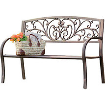 Outdoor Metal Bench Garden Porch Patio Furniture Backyard Deck Seat Iron... - $148.99