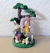 One Easter Decoration Boy w/Girl Rabbit on Swing + Bunny & Chick & Tree ... - $7.50