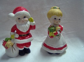 Vintage Homco Child Santa and Mrs Claus 5.5 inches tall - $8.42