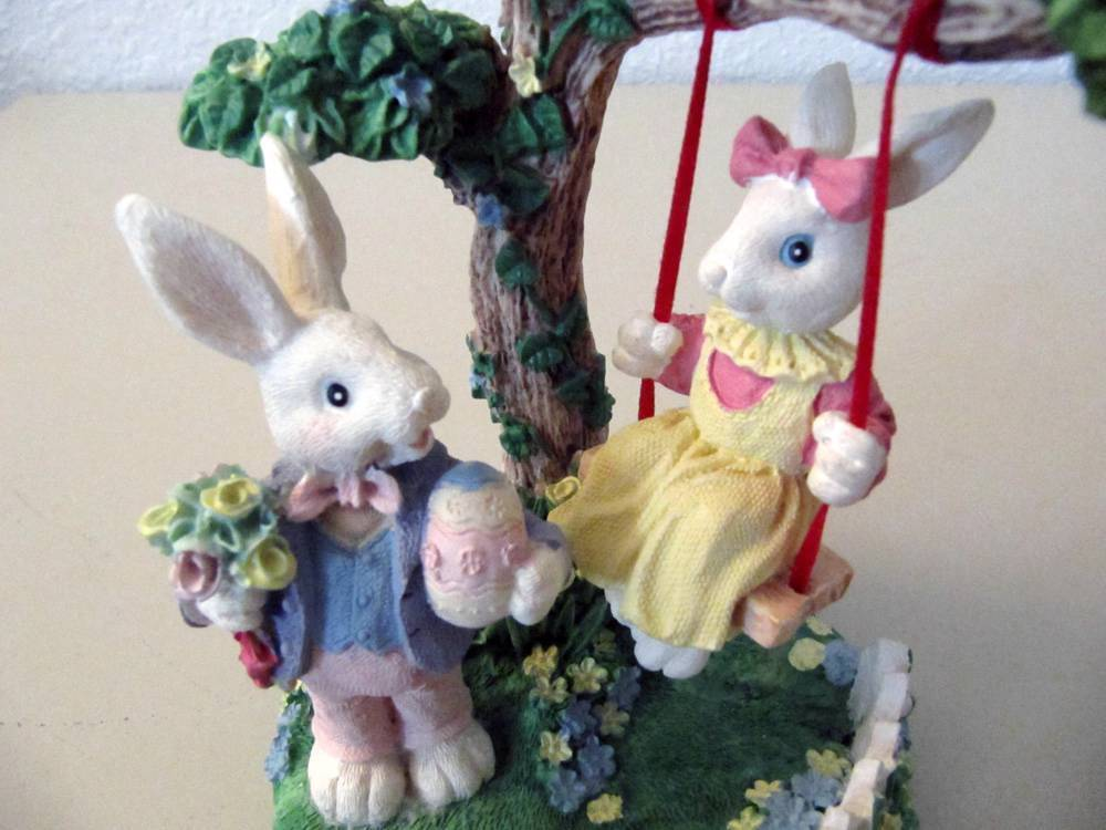"""One Easter Decoration Boy w/Girl Rabbit on Swing + Bunny & Chick & Tree 6.5 x 4"""""""