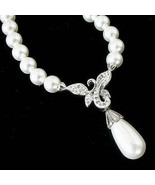 Faux White Pearl Necklace Sterling Silver With Drop Pearl & Cubic Zircon... - $19.78