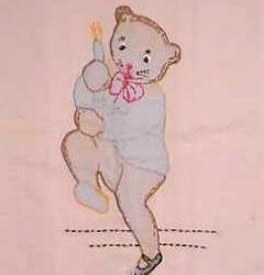 Vintage Pillow Case for Baby with Applique Bear