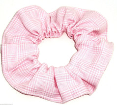 Pink and White Plaid Hair Scrunchie Scrunchies by Sherry Ponytail Holder USA - $6.99