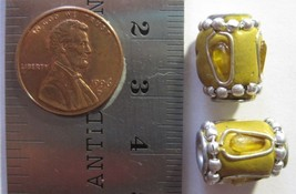VINTAGE HAND MADE - 15mm x 11mm Yellow Gold Oval Round Barrel Bead - 2 B... - $8.90