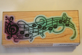 Stampendous Wavy Music N070 Mounted Rubber Stamp - $7.99