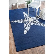 Nautical Rug Starfish Navy Blue Star Carpet Patio Furniture Decor In Out... - $168.25