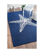 Nautical Rug Starfish Navy Blue Star Carpet Pat... - $188.05