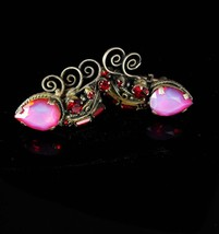 Dramatic Pink Opaline Cufflinks Vintage custom made OVER the TOP wedding... - $165.00
