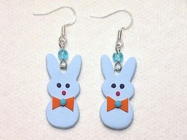 Easter Bunny Boy Peeps Baby Blue Orange Polymer... - $2.50