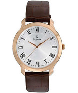 Men's Rose Case Bulova Dress Leather Band Watch 97A107 New In Box w/ War... - £126.51 GBP