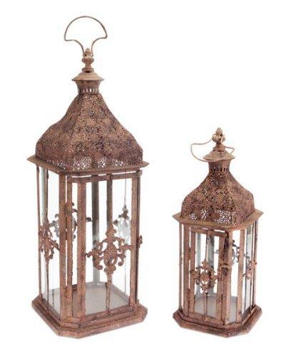 "Set of 2 Brick Brown Antique Rustic Pillar Candle Holder Lanterns 24"""