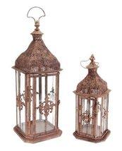 "Set of 2 Brick Brown Antique Rustic Pillar Candle Holder Lanterns 24"" - $136.32"