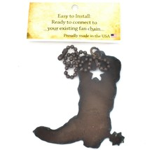 Country Western Rusted Patina Iron Metal Cutout Cowboy Boot Light Pull Chain image 2