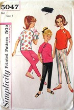 Vintage Simplicity Pattern 5047 Size 7 Girl's Overblouse & Pants Complete - $2.95