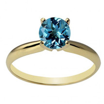 14k Solid Yellow Gold 6mm Round Blue Topaz Solitaire Ring All Sizes - £75.67 GBP+