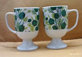 2 Vintage Irish Coffee Style Mugs // Green, Teal Tulip Design // Dessert... - $12.00