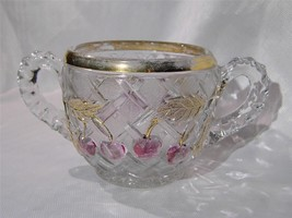 "EAPG Amethyst flashed Northwood Glass ""Cherry Latice"" Open SUGAR BOWL - $19.99"
