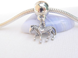Cute Mini 3D Silver Tone Baby Zebra Horse Pony Dangle Charm fits Euro Br... - $6.05