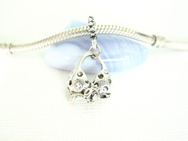 Silver Tone Bow Bikini Swimming Suit Dangle Charm Summer Ocean fit Euro ... - $6.17