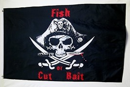 Fish Or Cut Bait Pirate Theme Flag 3' X 5' Indoor Outdoor Banner - $9.95