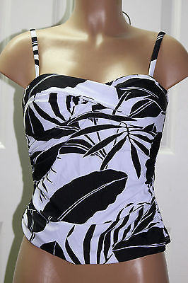 NEW Tommy Bahama Black White Palm Twisted Tankini Swimwear Top size XS TSW36780T