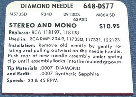648-DS77 PHONOGRAPH NEEDLE STYLUS for RCA 118197 118198 RCA 117330 RCA RMP 204-9 image 2