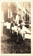 Antique African American Photo Woman Mother with Children Old Black Amer... - $13.85
