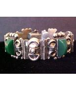 Vintage Green Agate Mexican Sterling Silver Lin... - $75.00