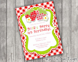 Berry 1st Birthday Party Invitations Invite Personalized Girl Strawberry... - $9.99