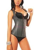 Ann Michell Full Vest Latex Waist Cincher 48 Black - $50.56
