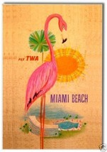 Miami Beach, Fly TWA Travel, Flamingo ~ Fridge Photo Magnet #MIA207 - $5.99