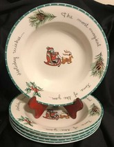 Mikasa Set Of 5 Large Rim Soup Bowls HK 713 Christmas Wish Ultima+ Indon... - $15.99