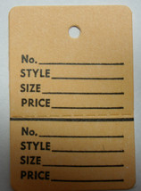 Ivory BUFF Tan 2 part Merchandise Garment Sale Price Tags Small With String - $19.89
