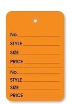 Orange 2 part Merchandise Garment Sale Price Tags Unstrung 1-1/4 x 1-7/8 - $16.89