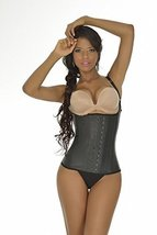 Ann Michell (2028) Semi Vest Latex Waist Cincher 46 Black - $63.69